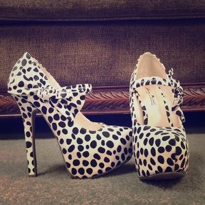 Black and white high heels